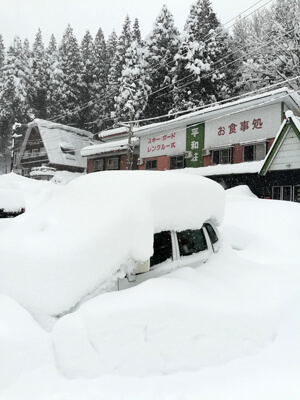 Car Buried in Powder in Myoko