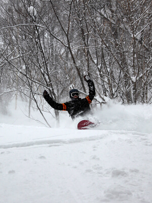 Rider Buried in Powder in Myoko